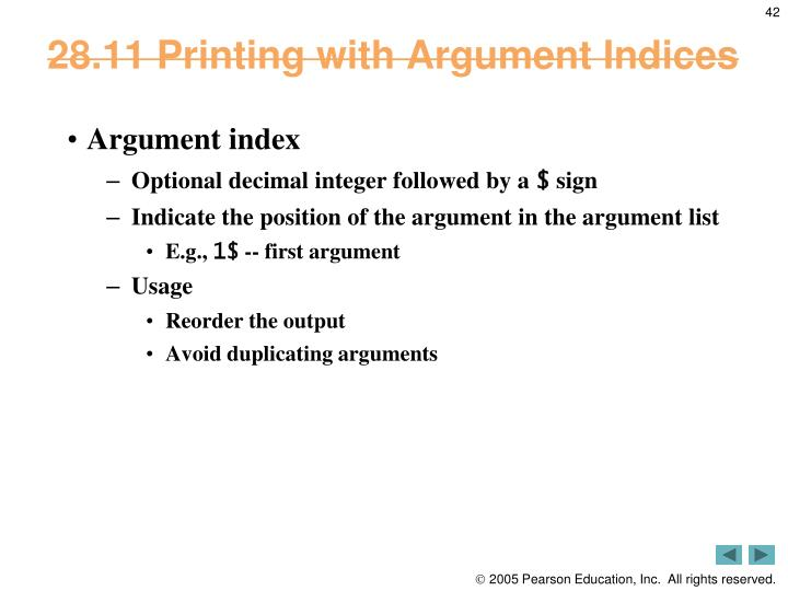 28.11 Printing with Argument Indices