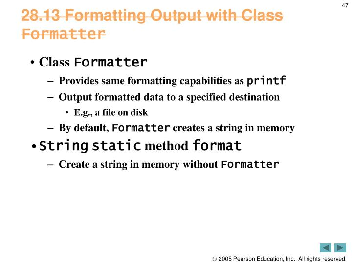 28.13 Formatting Output with Class