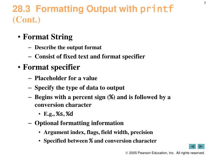 28.3  Formatting Output with
