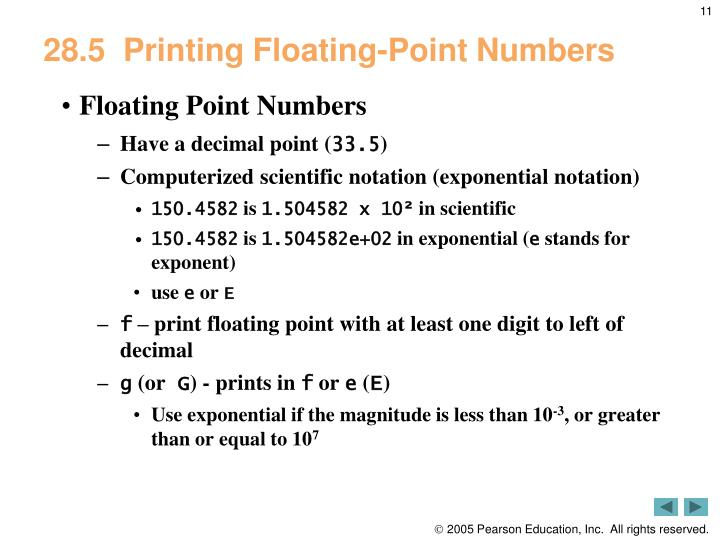 28.5  Printing Floating-Point Numbers