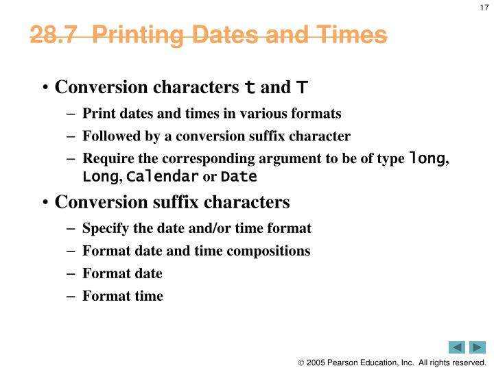 28.7  Printing Dates and Times