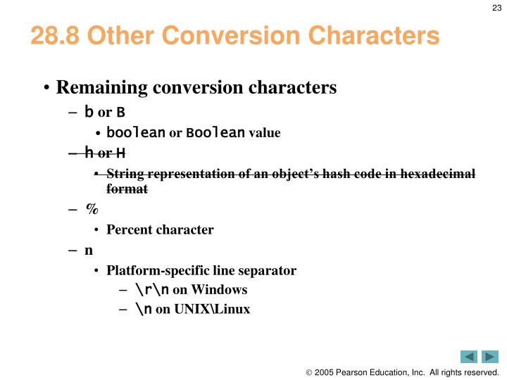 28.8 Other Conversion Characters