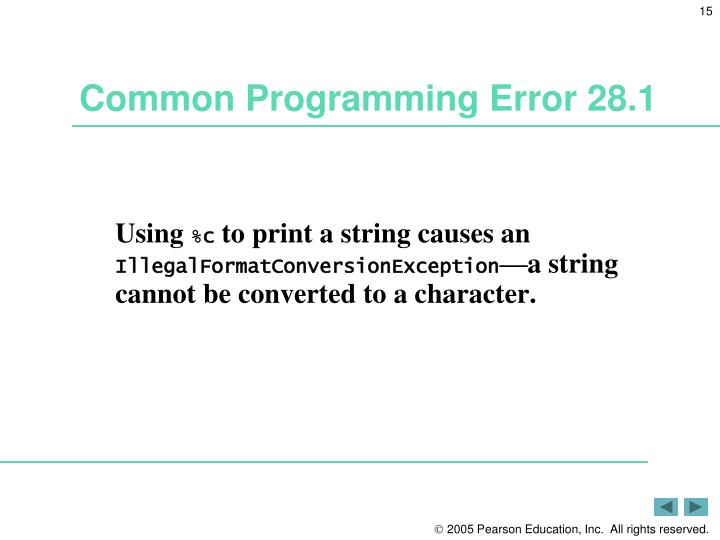 Common Programming Error 28.1