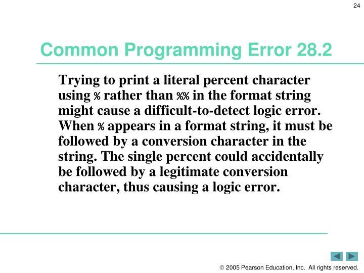 Common Programming Error 28.2