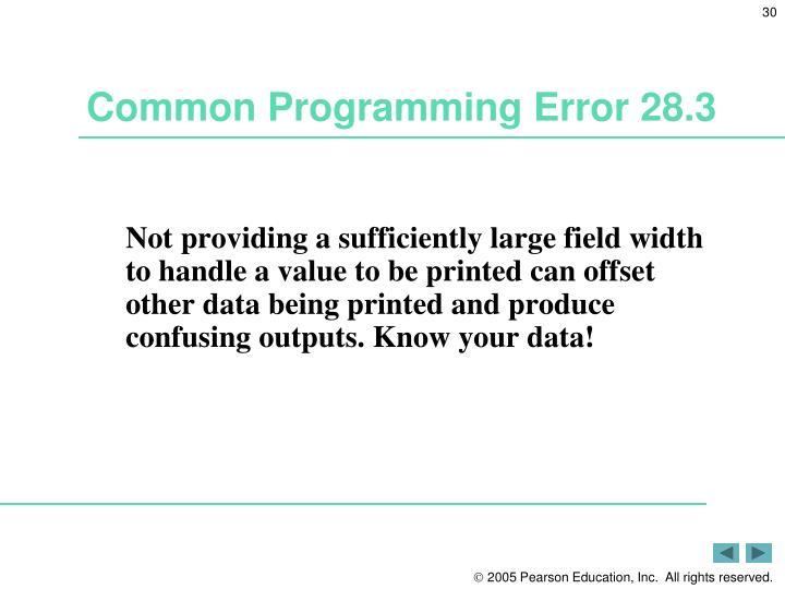Common Programming Error 28.3
