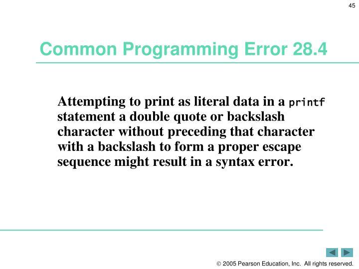 Common Programming Error 28.4