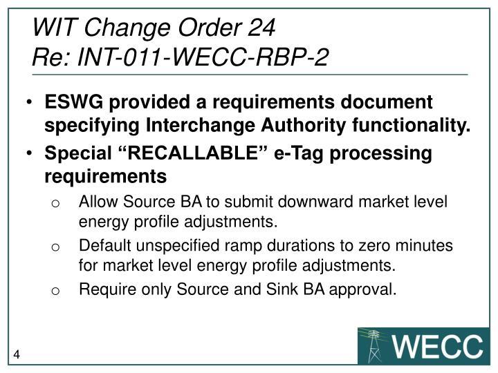 WIT Change Order 24