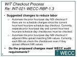 wit checkout process re int 021 wecc rbp 1 31