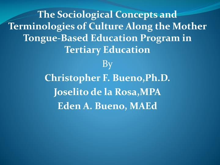 The Sociological Concepts and Terminologies of