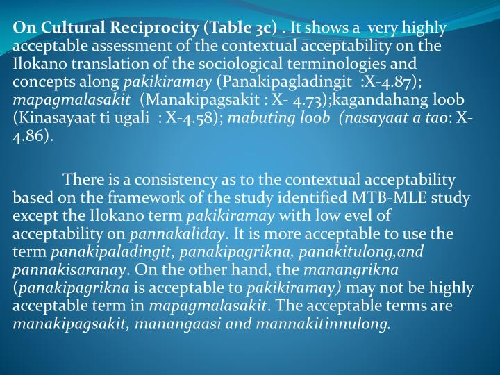 On Cultural Reciprocity (Table 3c)