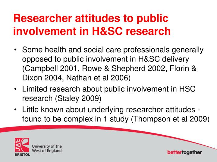 Researcher attitudes to public involvement in H&SC research