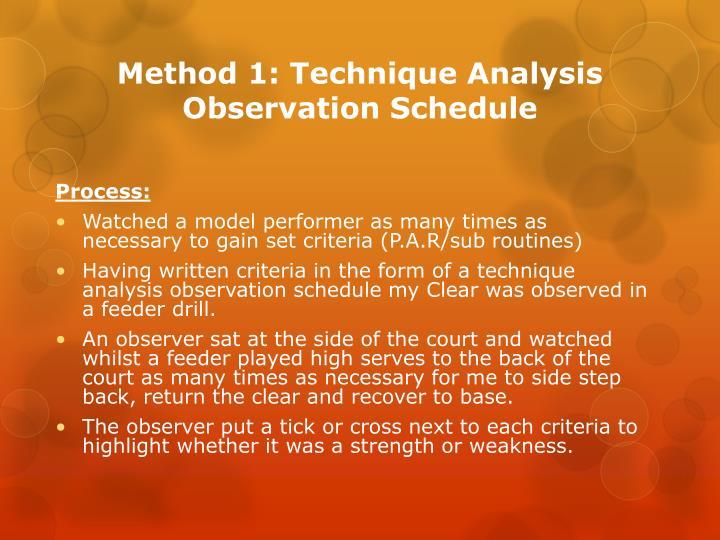 Method 1: Technique Analysis Observation Schedule
