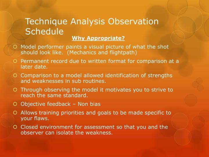 Technique Analysis Observation Schedule