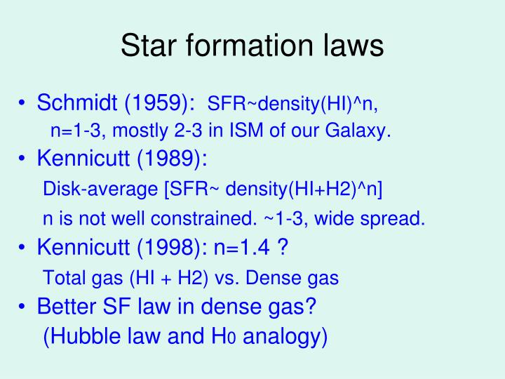 Star f ormation laws