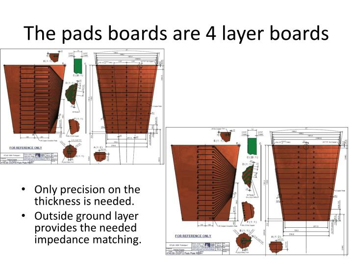 The pads boards are 4 layer boards