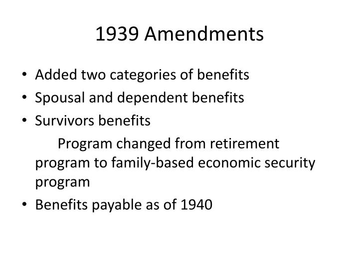 1939 Amendments