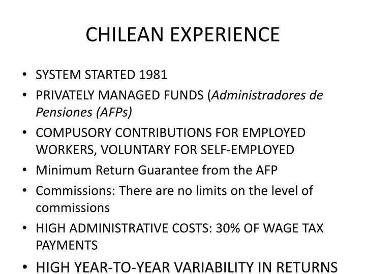 CHILEAN EXPERIENCE
