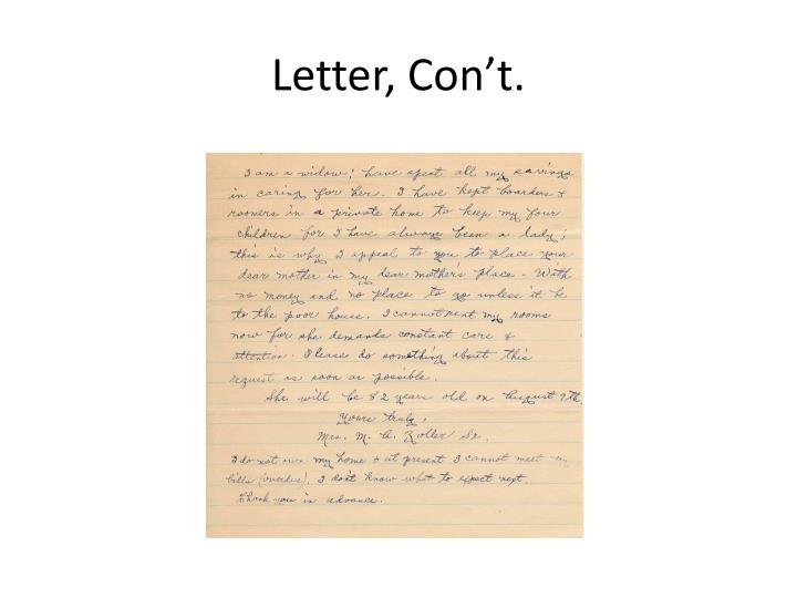 Letter, Con't.