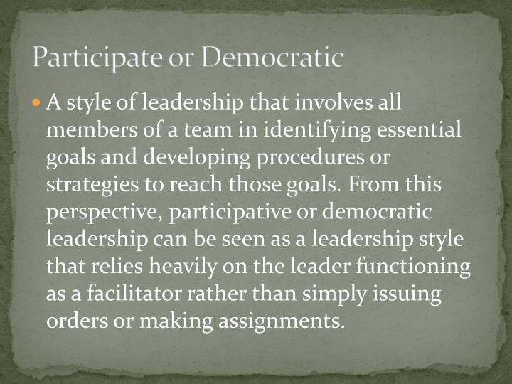 Participate or Democratic