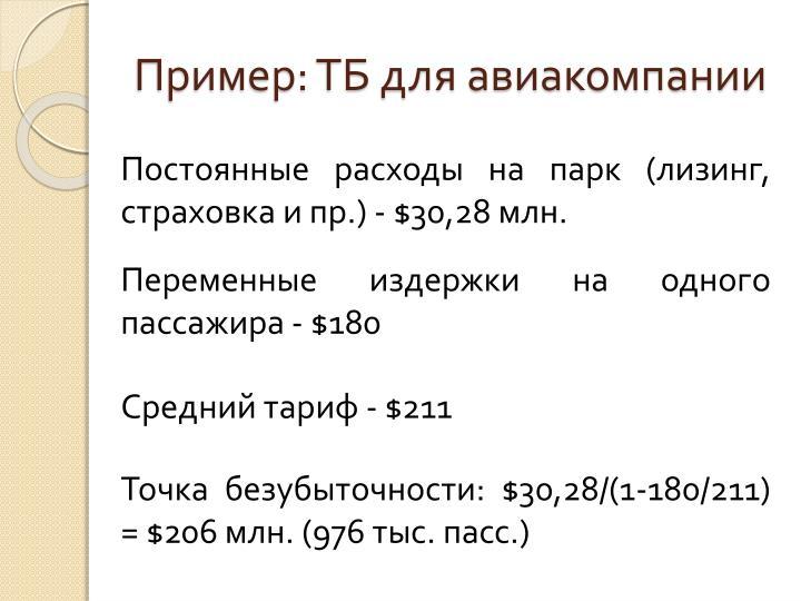 Пример: ТБ для авиакомпании