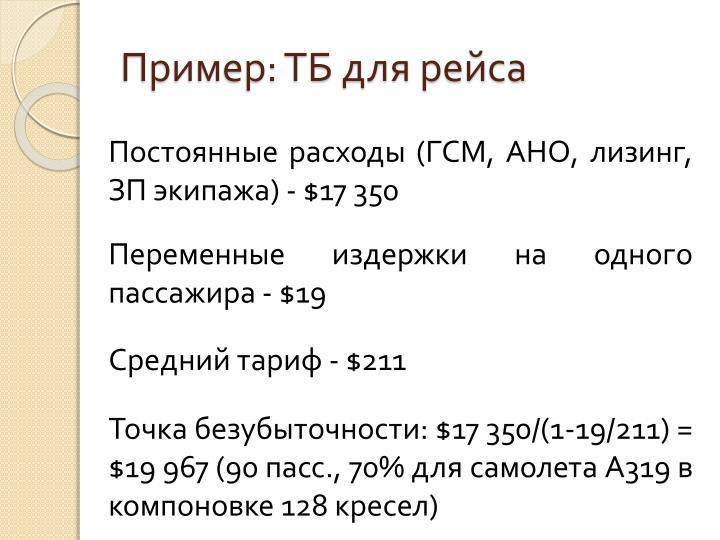 Пример: ТБ для рейса
