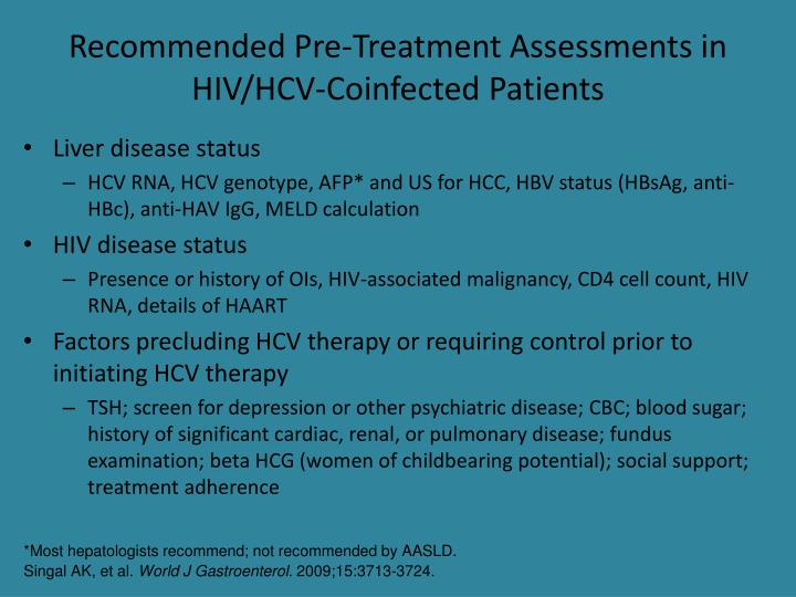 Recommended Pre-Treatment Assessments in HIV/HCV-Coinfected Patients