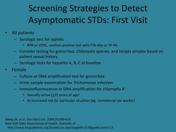 Screening Strategies to Detect Asymptomatic STDs: First Visit
