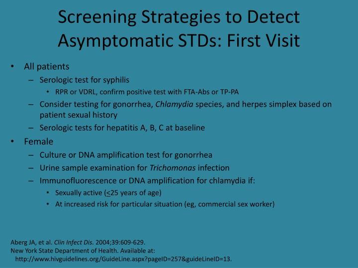 Screening Strategies to Detect Asymptomatic STDs: First Visit