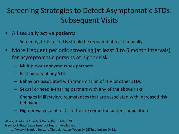 Screening Strategies to Detect Asymptomatic STDs: Subsequent Visits