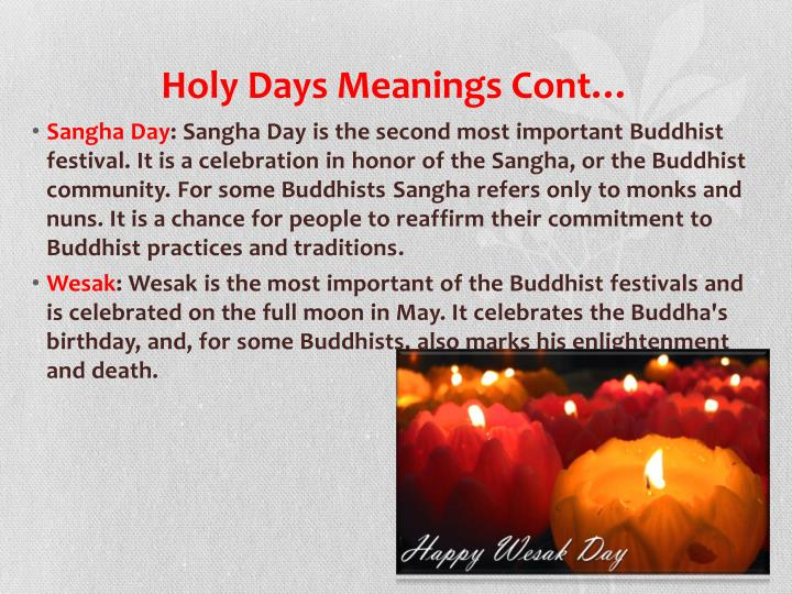 Holy Days Meanings