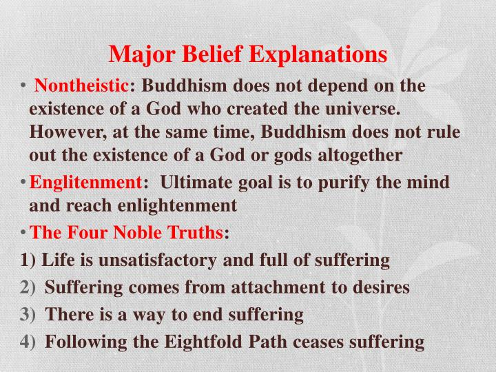 Major Belief Explanations
