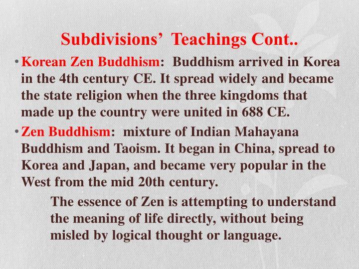 Subdivisions'  Teachings Cont..