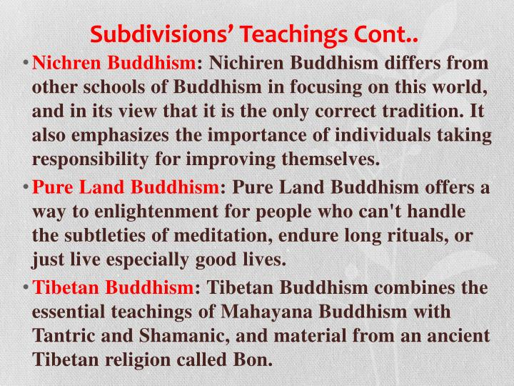 Subdivisions' Teachings Cont..