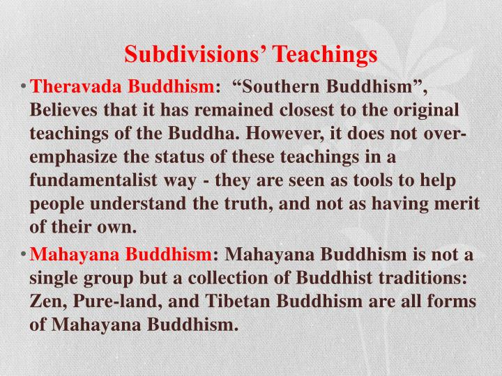 Subdivisions' Teachings