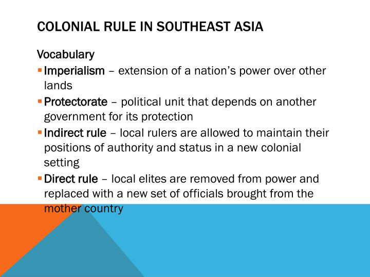 Colonial Rule in Southeast Asia