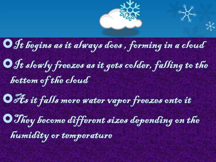 It begins as it always does , forming in a cloud