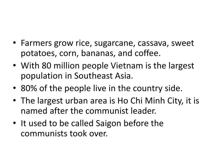 Farmers grow rice, sugarcane, cassava, sweet potatoes, corn, bananas, and coffee.