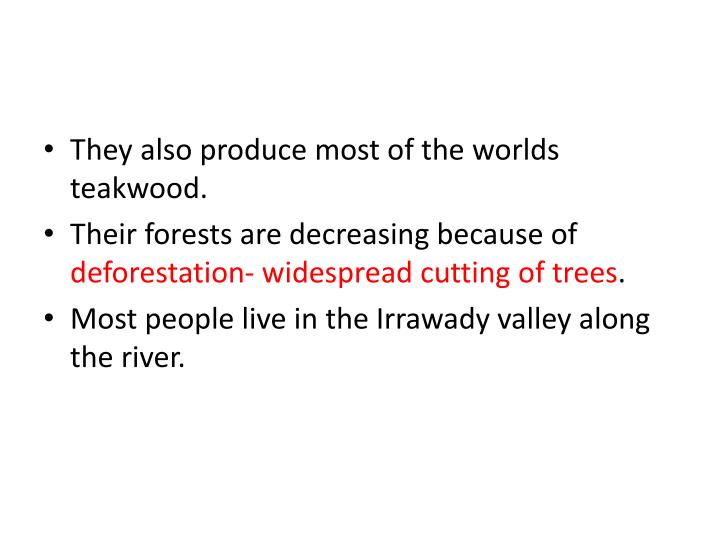 They also produce most of the worlds teakwood.