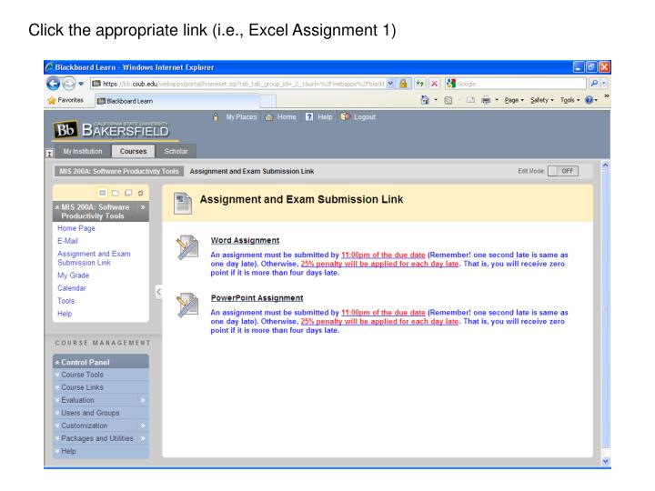 Click the appropriate link (i.e., Excel Assignment 1)