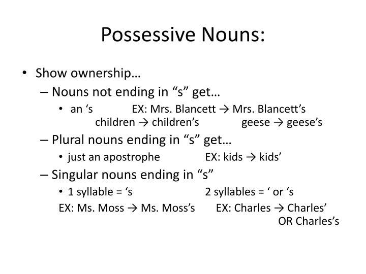 Possessive Nouns: