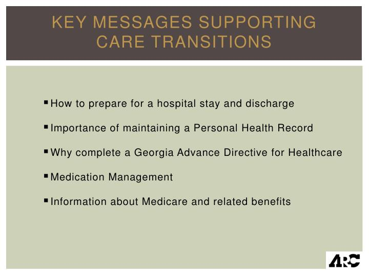 Key Messages Supporting