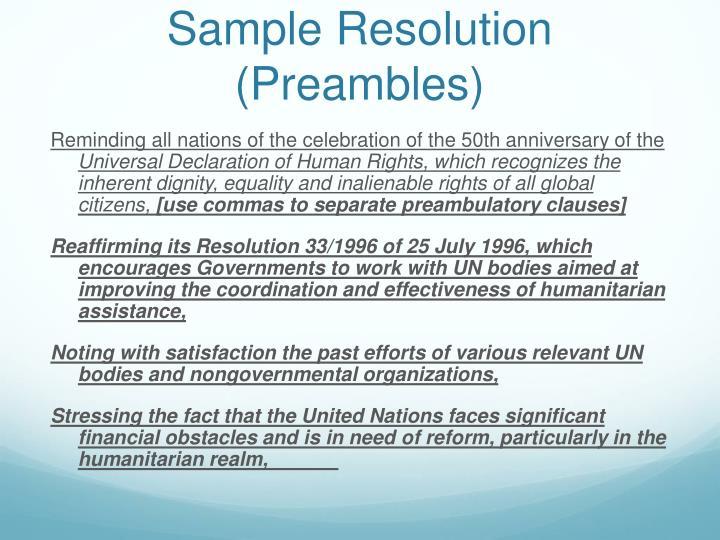 Sample Resolution (Preambles)