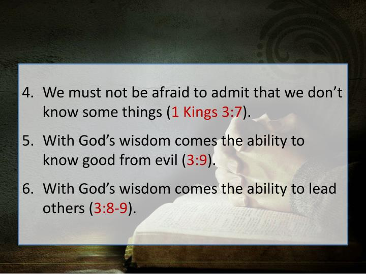 We must not be afraid to admit that we don't know some things (