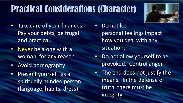Practical Considerations (Character)