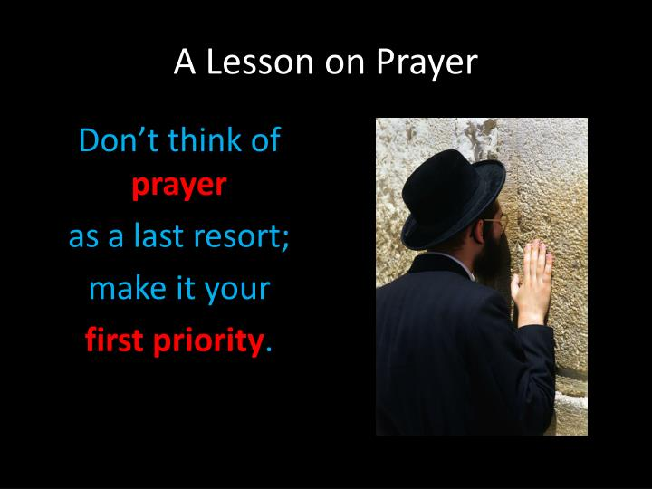 A lesson on prayer1