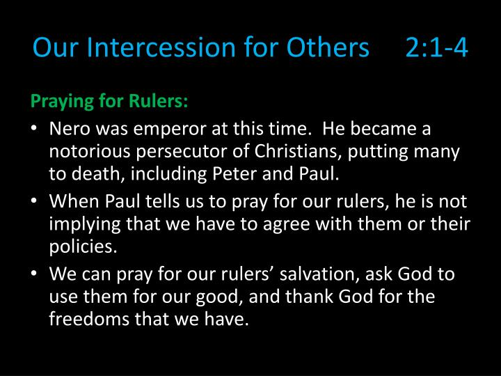 Our Intercession for