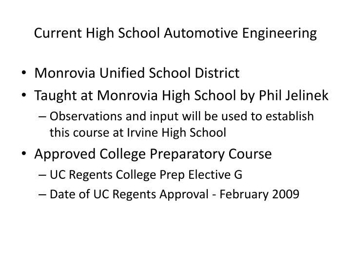 Current High School Automotive Engineering