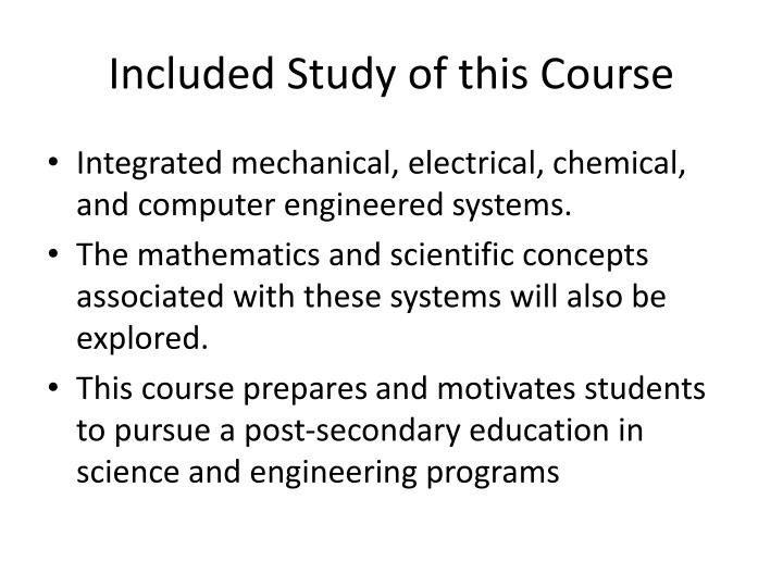 Included Study of this Course