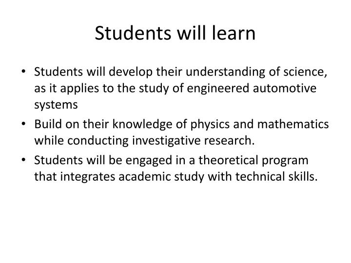 Students will learn