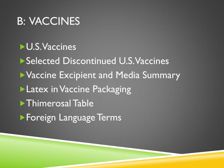 B:  Vaccines